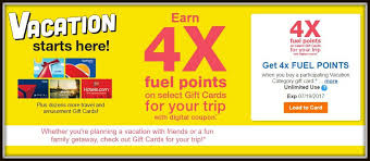 vacation gift cards earn 4x fuel points on gift cards for your vacation must