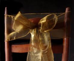 gold chair sashes gold organza chair sashes bows table runners 6 5in x 9ft 10