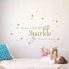 amazon com she leaves a little sparkle girls room vinyl wall amazon com she leaves a little sparkle girls room vinyl wall decal sticker inspirational quote with stars gold 15x36 inches home kitchen