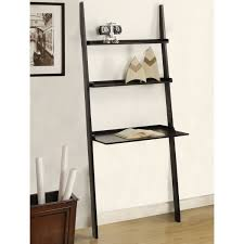 Black Glossy Wooden Ladder Shelf Computer Desk On White Wall And