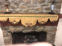 embroidered fireplace mantel runner skirt w flowers