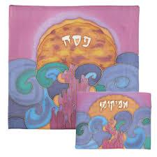 afikomen bag painted matzah cover and afikomen bag splitting of the sea