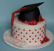 graduation cake with black graduation hat topper and diploma jpg