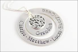 grandchildren necklace personalized silver necklace tree of charm