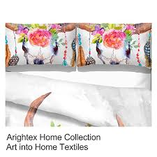 3 pieces boho feather duvet cover set colorful floral cow skull