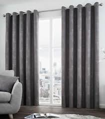 Curtain Pairs Solent Metallic Ready Made Lined Eyelet Curtains Ringtop Curtain