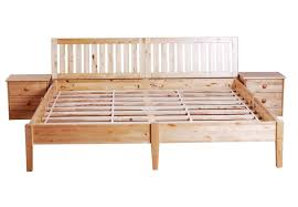 queen wood platform bed frame with ladder headboard and bedside