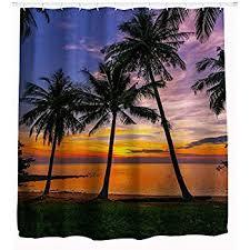 Palm Tree Bathroom Accessories by Amazon Com Beach Shower Curtain By Goodbath Ocean Seascape
