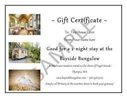 gift certificates bayside bungalow tiny house vacation rental