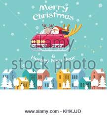 santa claus driving sleigh reindeer snowy ground
