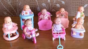 Pink Swinging Baby Chair Mini Baby Dolls With Nursery Cradle High Chair Walker Swing