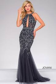 gunmetal keyhole long gown with crystal embellishments