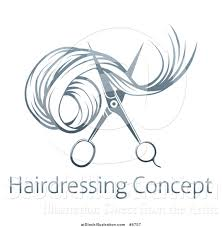 vector illustration of gradient scissors cutting hair over sample