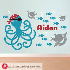pirate octopus wall decal ocean fish sharks name kids nursery kids pirate octopus wall decal ocean nursery fish by graphicspaces color customizable