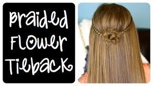 braided flower tieback hairstyles for long hair cute girls