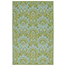 Easy To Clean Outdoor Rug Indoor Outdoor Luka Green Damask Rug 8 8 X 12 0 By Bombay Home