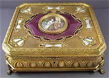 Gilt Bonze Enameled Portrait Superb Antique Enamel Gilt Bronze Jewelry Box Signed S Burnet