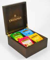 twinings tea chest 4 compartment deluxe brown with 40 twinings