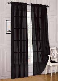 amazon com 2 piece solid black sheer window curtains drape panels