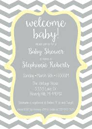 Baby Welcome Invitation Cards Templates Baby Shower Invitation Gray And Yellow Chevron Check Out Matching