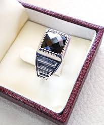 small stone rings images Square small pinkie black onyx stone sterling silver 925 simple jpg