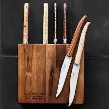 Laguiole Kitchen Knives Laguiole En Aubrac 6 Mixed Wood Steak Knives Acacia Block