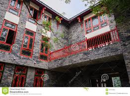 balcony on second floor of archaised building stock image image