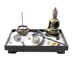 Zen Home Decor Store Tabletop Zen Garden Buddha Rock Rake Sand Candle Incense Burner