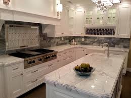 Kitchen  Beautiful Granite Countertops White Cabinets With - Stainless steel cooktop backsplash