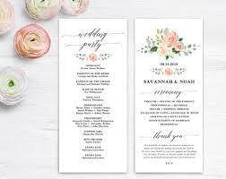 printable wedding program template wedding program template etsy