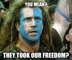 Braveheart Freedom Meme - you mean they took our freedom braveheart ermahgerd quickmeme