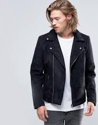 biker jacket men asos faux suede biker jacket in black in black for men lyst