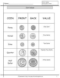 coin identification worksheet counting coins worksheets from the s guide
