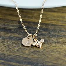 gold necklace with initial images Rose gold bee necklace initial necklace rose gold initial bee jpg