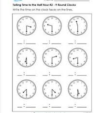 time to half hour worksheet free worksheets library download and