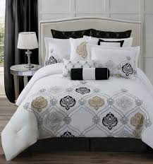 Gold And Silver Bedroom by Classy Bed Sheet And Comforter Set With Black Euro Sham Cover With