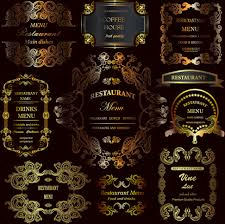 golden ornament labels with vintage frames vector free vector in