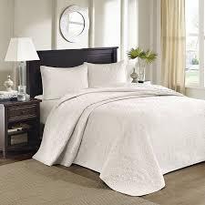 solid white comforter set com madison park quebec 3 piece bedspread set king ivory