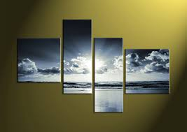 home wall decoration 4 piece canvas red sunset white ocean wall art