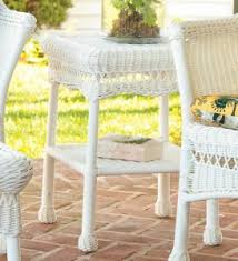 white wicker end table white resin wicker patio furniture thereviewsquad com