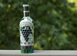 mosaic grapes wine bottle wine decor glass art wine bottle
