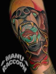 neo traditional bear manu raccoon tattoo