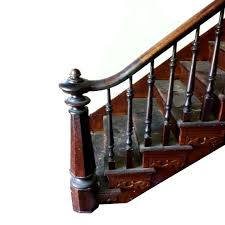 Vintage Handrail Complete Antique Carved Staircase With Walnut Newel Post
