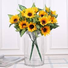 artificial flowers cheap luyue artificial flowers high quality 13 forks silk sunflower