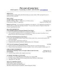 objective in resume for internship sample computer science resume internship career center