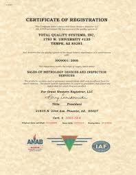 Quality Certification Letter inspection services certification total quality systems