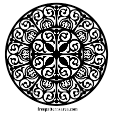 circle ornament vector floral damask free pattern freepatternsarea