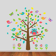 Owl Nursery Wall Decals by Owl And Birds Tree Scene Wall Sticker By Mirrorin