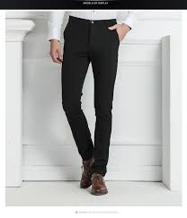 new mens slim fit solid suit pants blazer dress pants stretch