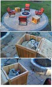 diy firepit storage tables one holds the propane gas tank for the